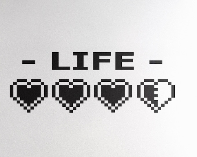 LIFE Gauge - Carpe Diem, Vinyl Decal for walls or windows - Sticker collection for wall decor and home improvement, Yolo, Gamers life