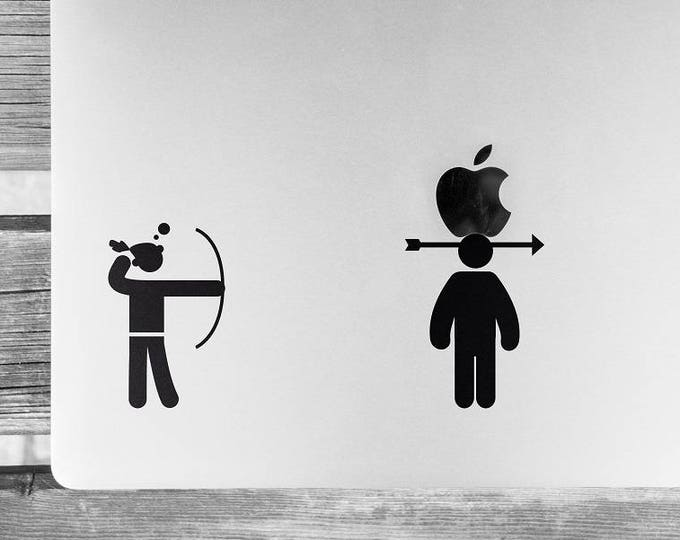 The Archer and the Apple, Sticker, Decals for Laptops, William Tell, Sometimes the archer misses too, mac, Macbook Decal Sticker