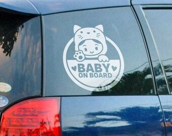 Baby on Board - Version 5 - Car Window Decal, Life saver warning in case on accident, Cautious Sign, Cool and Funny decals for cars, Drivers