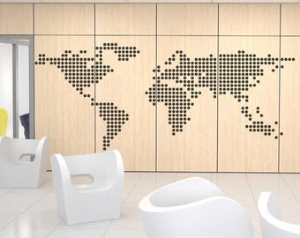 World Map in Circles/Dots - Decals for Home Decor, Usa France Germany Italy Europe Africa Australia America Russia Asia China Japan Canada