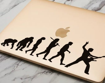 Man Evolution to Guitar Player Decal Sticker for Macbooks and Laptops, Guitarist, Guitar Legend, Guitar Hero, Mac, Macbook Decal Sticker