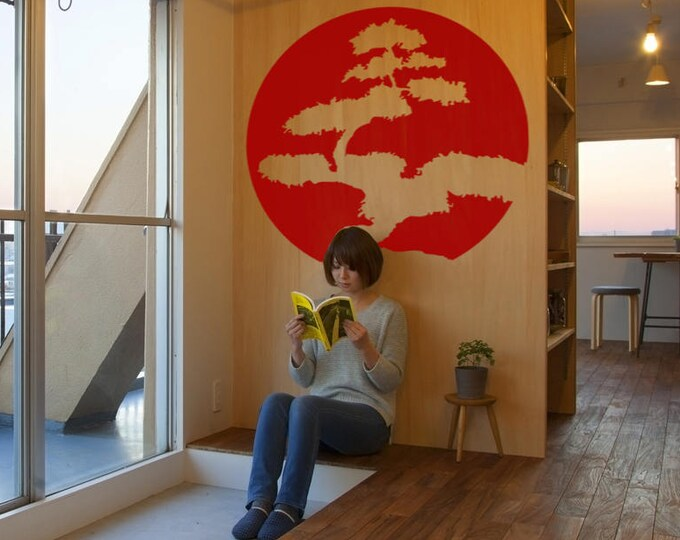 Featured listing image: Japanese Tree Decal Sticker, Nippon Style, Inspiring Bonsai Japan Nipponic Samurai Bamboo Mapple Temple Sushi Rising Sun 日本 Wood Acer