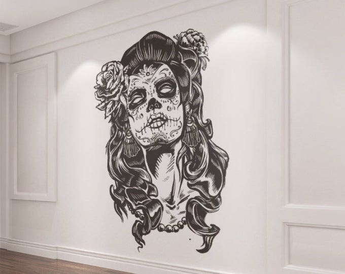 Featured listing image: La Calavera Catrina - The beautiful candy skull Decal Sticker, Skulls, Day of the Dead, Dia de los muertos, Mexico, Wall Decal