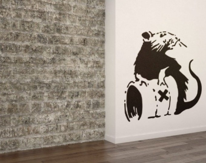 Banksy Chem Rat, Toxic Rat, Vinyl wall decal, sticker, banksy, Artistic mural, wall decor, home improvement, mouse, chemical, bidon rat