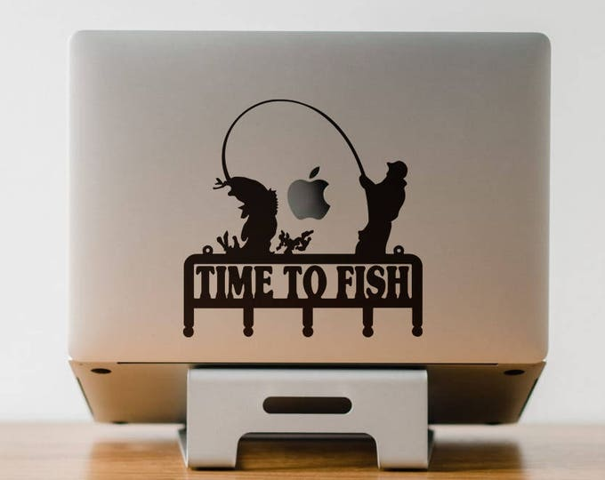 Time to Fish Decal Sticker, Fishing Enthusiasts Decal Set, Fisher, Fishing, Fishermen, Fisherman, mac, Macbook Decal Sticker
