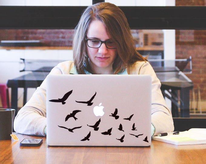 Bird Flock Decal Sticker, Laptop Skin, mac, Flying birds, Sky, raft, ducks, charm, finches, horde. ravens, Macbook Decal Sticker