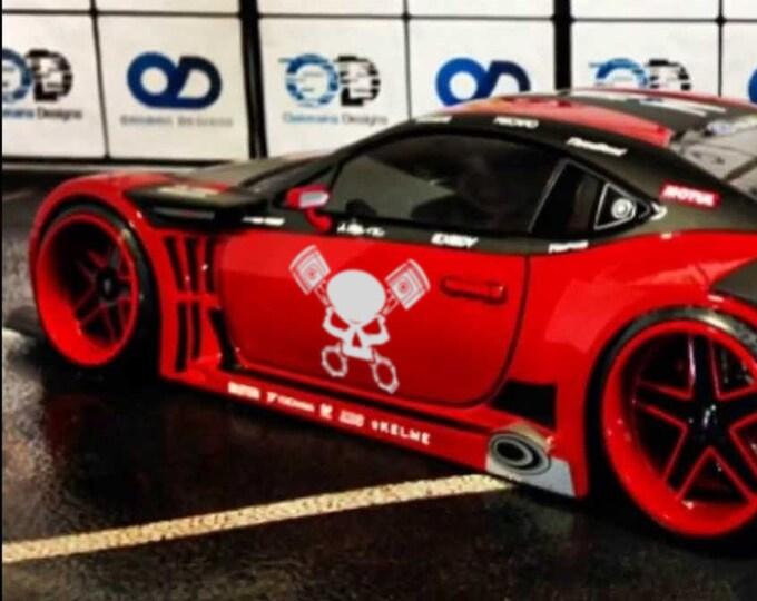 Skull Pistons - Japanese Domestic Market Themed Die Cut Vinyl Sticker, JDM DRIFT, Car Sticker, Decal