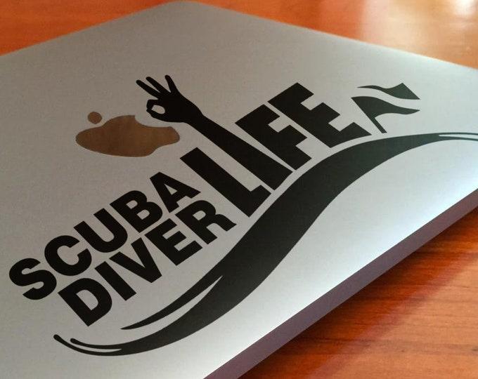 Scuba Diver Life Decal Sticker, Scuba Diving Dive Marine life Underwater Scubapro Free Sealife mac, Macbook Decal Sticker