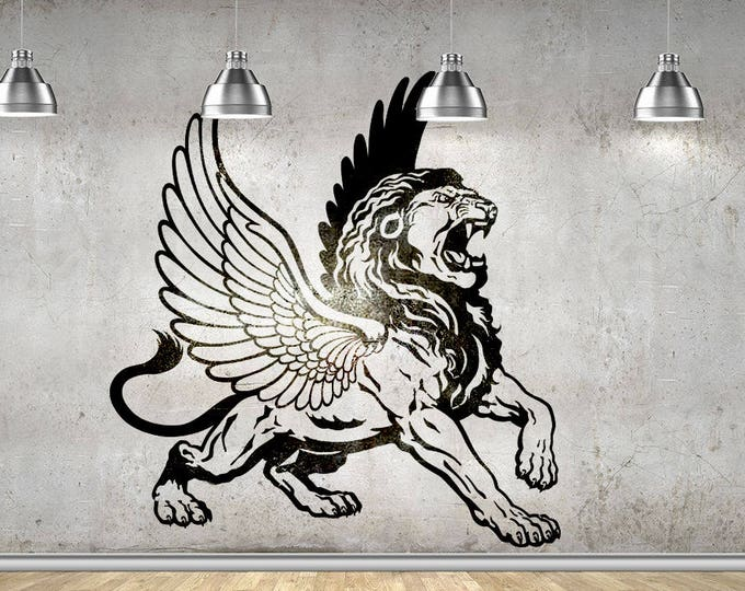 Winged Lion Wall Vinyl Decal Sticker, Wings Greek Mythology Griffin Zeus Apollo Eagle Strength Wisdom Decals Stickers