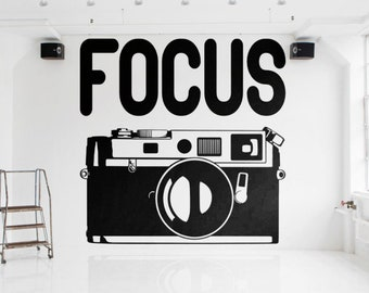 FOCUS - Typography Wall Decals for Home Decor, Lettering, Motivational and Inspiring Decal, Strength, Hard work, Never give up