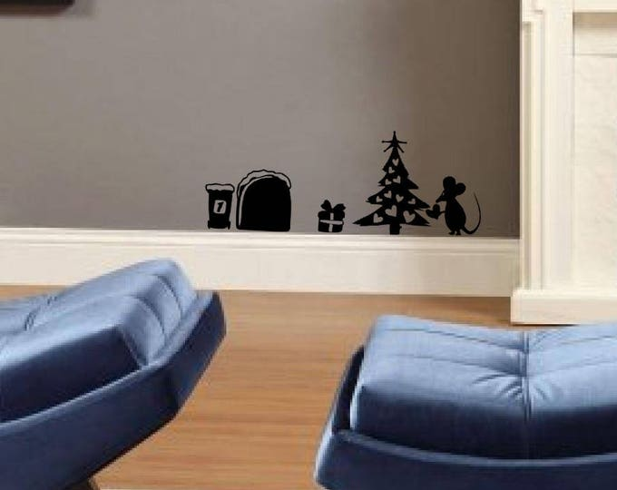 Little mouse putting ornaments on a Christmas tree, Vinyl, Decal, sticker, Cute and adorable mice collection for wall or window decor
