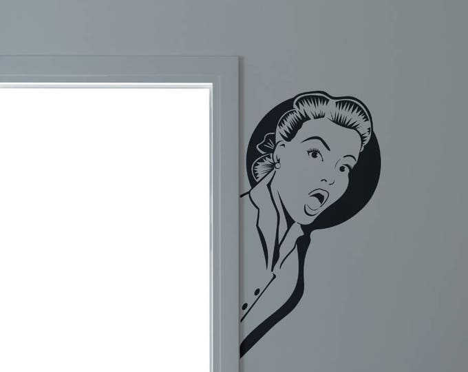 Surprised Woman, Old Vintage and Iconic Images , Wall Decal / Sticker, for home decor and improvement, Retro Style Decals, Lady, Girl