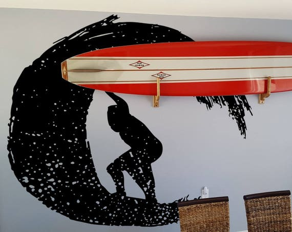 SURF is UP, Summer Wall Decal for Surfers or Surfing enthusiasts, Surfer Surfing Wave Ocean Water Swim Sport Wave Riders Hang Loose Beach
