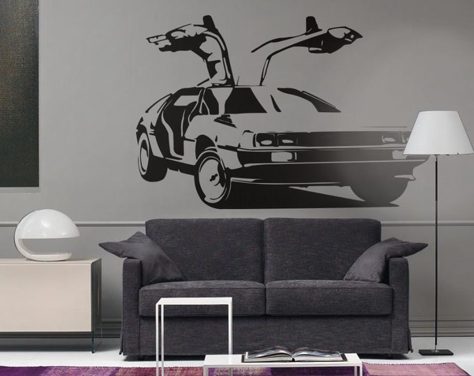 DeLorean DMC-12 Car Silhouette, Old Vintage and Iconic Cars , Wall Decal / Sticker for Home decor and Improvement, Back to the Future, Car