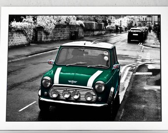 British Racing with a Green Mini - High Quality print made with Gloss Photo Paper - Vintage Cars,  Car Fans, BMC, British Popular Culture