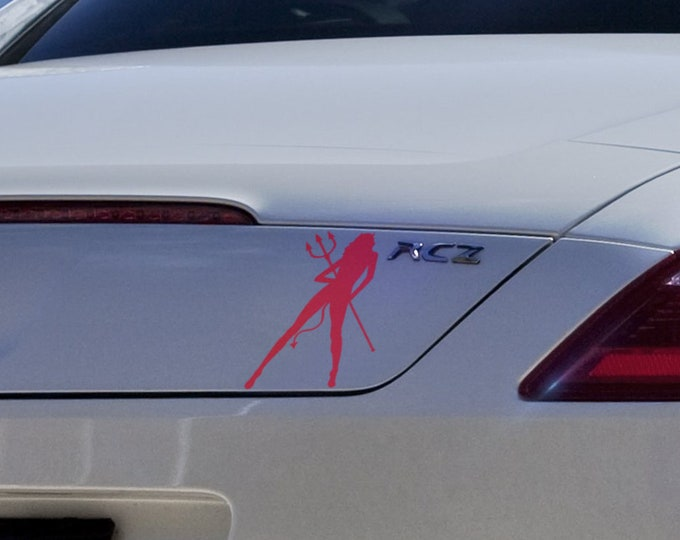 Devilish Girl - Funny Die Cut Vinyl Sticker for cars, JDM DRIFT, Car Sticker, Decal, Fast and Furious, Tuning, Devil, Sexy, Fork, Women