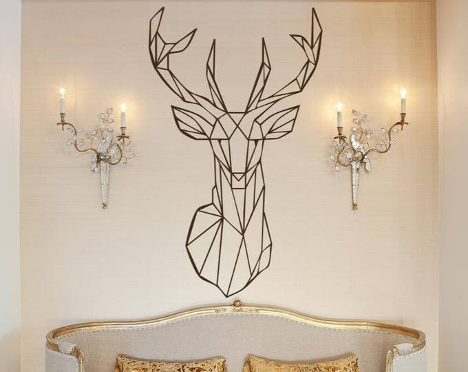 Minimalist Deer in Sacred Geometry Modern Style Decor - Wall decals for magical minds, Many colors and Sizes available, Mystic collection
