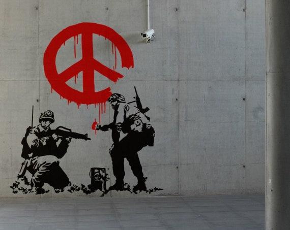 Banksy, Army Peace Troopers Wall Decal Sticker, Urban art, Artist, graffiti, stencil, urban walls, wallart spray, Wall Art, Soldiers