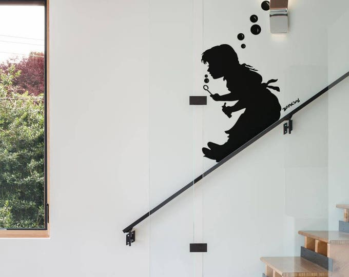 Bubble Girl Slide, Banksy, Wall Decal Sticker, Banksy Style, Urban art, Artist graffiti stencil urban walls wallart spray, Wall Art, London