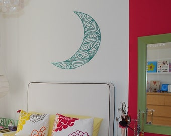Hand drawn Half Moon decal / sticker - Wall decals for magical minds, Magical decals and Stickers, Magical minds collection