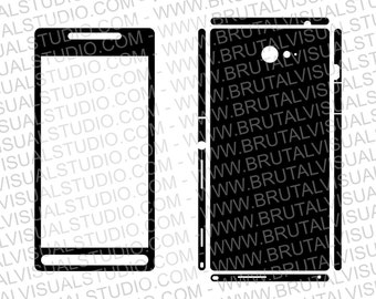 Sony Xperia M2 - Skin Cut Template for cutting, engraving or machining - Digital Download - Plotter, CNC, Laser Cutter - svg, eps, pdf, jpg