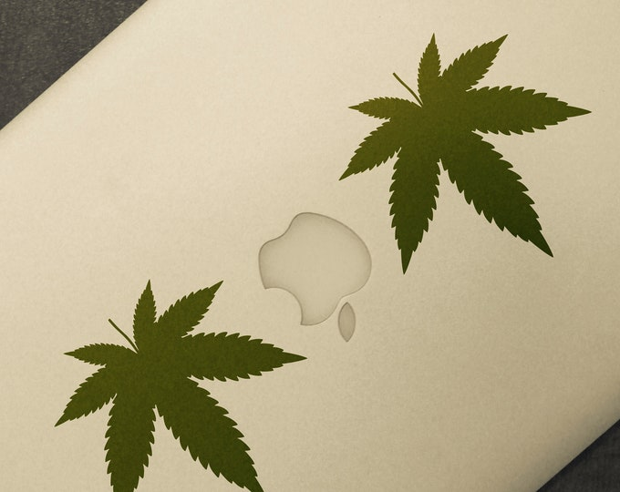 Two leafs of Cannabis  - Laptop decal, Vinyl Sticker Skin, Brutal, Epic Decals, mac, Stoners, Smoking, Weed, Macbook Decal Sticker, Funny