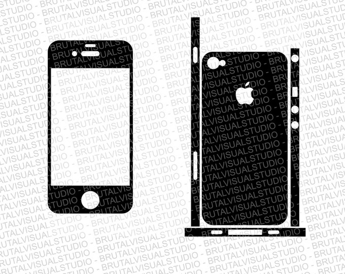 Iphone 4 - Skin Cut Template with lateral stripes - Templates for cutting or machining - Digital Download - Plotter, CNC, Laser Cutter - SVG