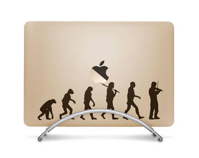 Man Evolution to Violin Player Decal Sticker, Music Violin Orchestra Strings Stradivarius Petrowitsch, mac, Macbook Decal Sticker
