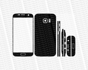 Samsung Galaxy S7 - Skin Cut File Template - Templates for cutting or machining - Digital Download - Plotter, CNC, Lasers - Svg Cdr Ai