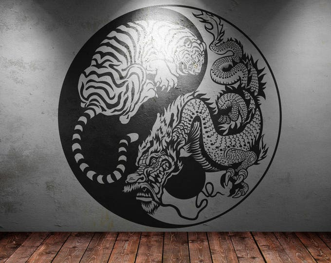 Hidden Dragon Crouching Tiger Yin Yang Vinyl Decal Sticker, Asian Mythology Decal, Inspiring Vinyl Poster collection for wall decor