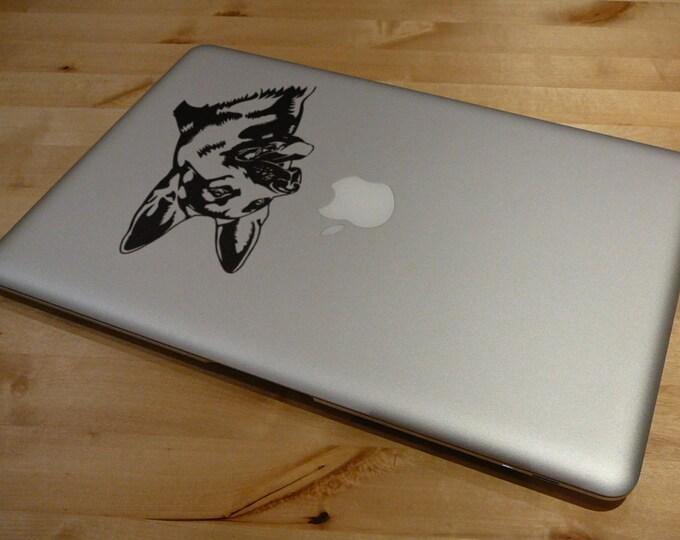 German Shepherd Decal Sticker - Version 2, Laptop Skin, Dog, Guard Dog, PET, Police Dog, mac, Macbook Decal Sticker, K9