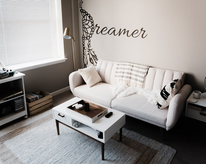 Dreamer Wall Decal, Typography Mural, Dream Catcher, Lettering, Wall Decals, Magical Minds Collection, Gift for her, Bedroom decal
