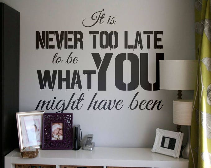 Its never to late to be what you might have been, Vinyl Decal for walls or windows - Sticker collection for wall decor and home improvement