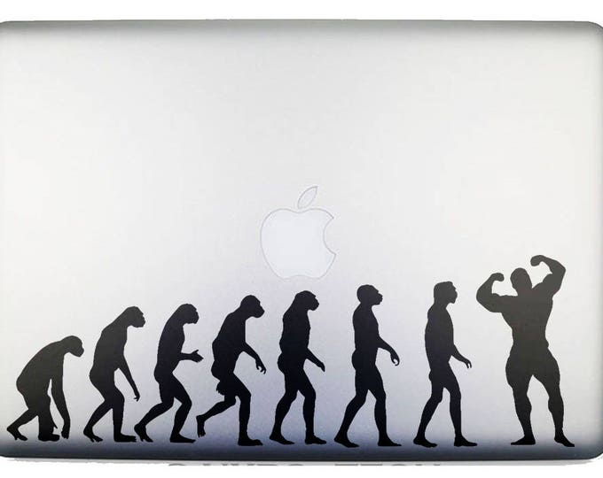 Man Evolution to Bodybuilding Decal Sticker, BodyBuilders Muscle Body Building Build IFBB, mac, Macbook Decal Sticker