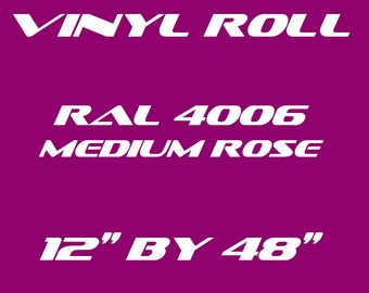 Medium Intensity Pink / Rose - RAL 4006 - Gloss Vinyl Roll - 5 Year Durability Indoors or Outdoors - 75 Microns