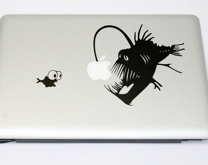 Shrimp and the Angler Fish Decal Sticker, Anglerfishes Anglerfish Lure Ugly Predator Light Deep Sea, mac, Macbook Decal Sticker