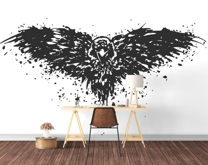 The Crow - Stylized Splashing Crow Wall Decal, Mystic Animals Collection, Birds, Bedroom and Living room decor stickers, Wild, Occult