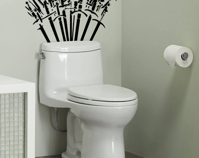 Throne of Spades - Toilet Decor wall Decal Set - The WC has never been so exciting, Toilets, Fun, Funny, Swords, Sticker, Rest Room