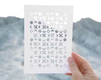 Geometric Forms Stencil 5 - Reusable, 220 microns - Ideal for spray paint, Aerograph design, AirBrush templates - Durable Laser Cut Template