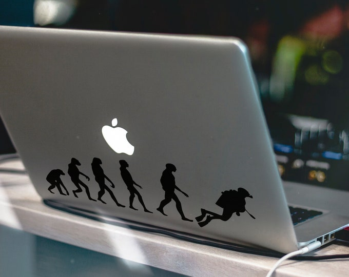Man Evolution to Diver Decal Sticker, Mac, Diving Decals, Laptop Sticker, Divers, WetSuit, , Undersea, Spearfishing, Diving, World, Undersea
