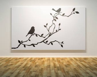 Birds on a Tree Branch Wall Decal Sticker, Nature Decals, Relaxing and freshening decor for your home, Serenity Peace Beautiful Calming