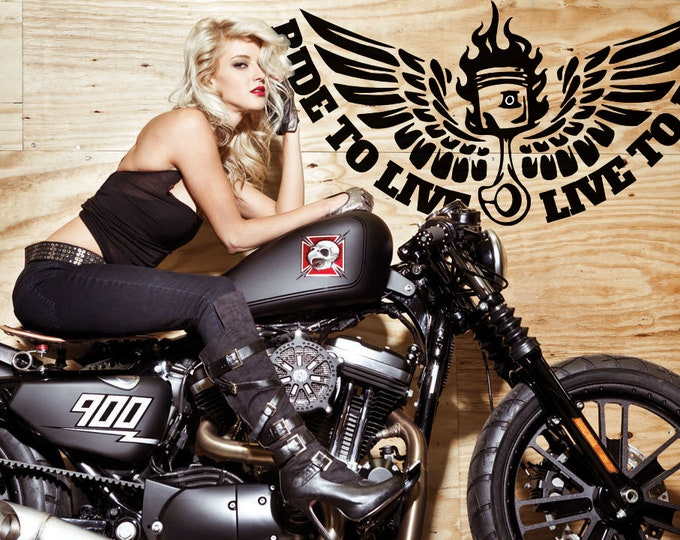 Ride to Live and Live to Ride - Die Cut Vinyl Sticker / Decal, Motorcycle Wall Decal Collection, Motorsports Bikers Motoclub Riders