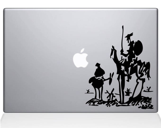 Don Quixote of La Mancha Decal Sticker for Apple Macbook, Miguel de Cervantes Saavedra spain spanish alonso quixano sancho panza, mac