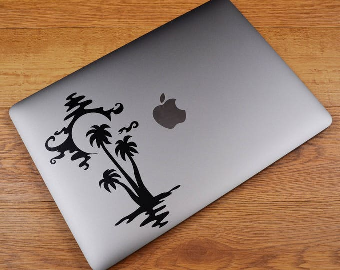 SunSet Silhouette by the Ocean Decal Sticker, Sunrise, Sun Sunsets, Sky, Water, Palm Tree, Water, Light, mac, Macbook Decal Sticker
