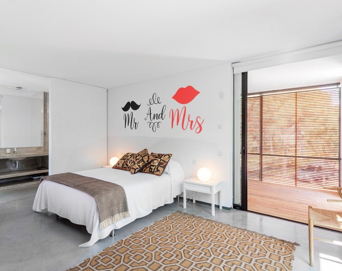 Mr and Mrs Bedroom decal / sticker - Contemporary Wall decals for Home Improvement, Mister and Missis