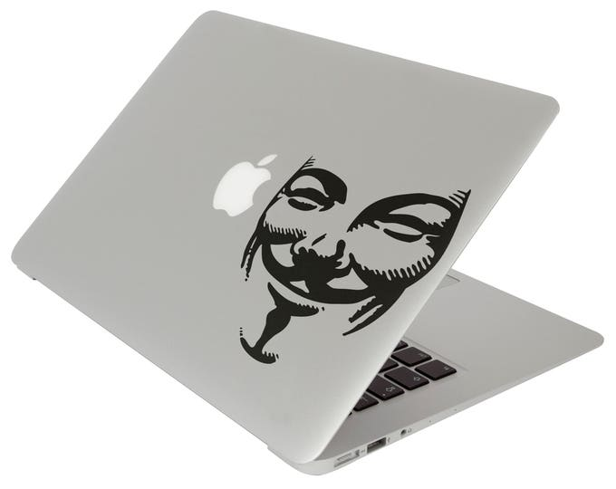 Anonymous Mask Decal Sticker, Laptop Skin, Hacker Group, Guy Fawkes, mac, macbook cover decal, Macbook Decal Sticker