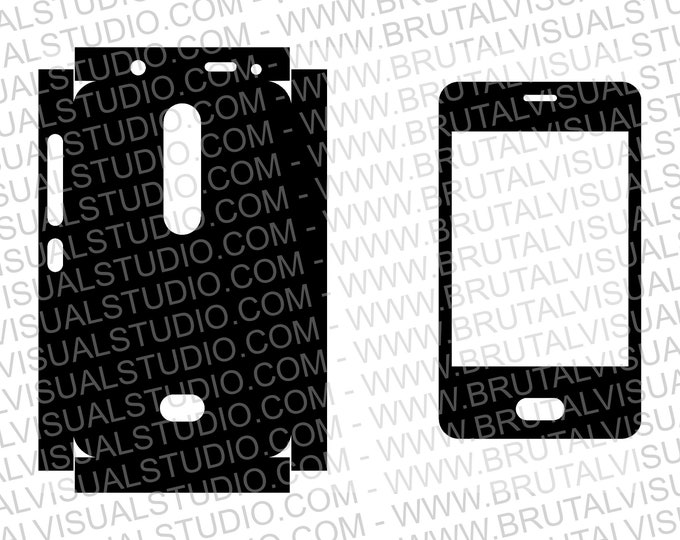 Nokia Asha 501 - RM-899 - Skin Cut Template for cutting, engraving or machining - Digital Download - Plotter, CNC, Laser Cutter - SVG