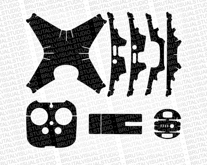 DJI Phantom 4 Pro - Skin Cut File - Templates for cut or machining - Digital Download - Plotter, CNC, Laser Cutter - Drone Skin Cut File