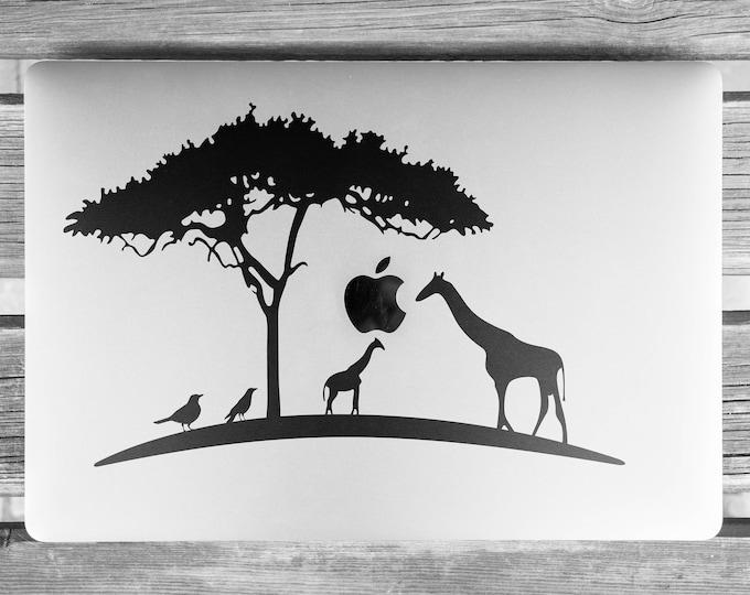 African Landscape Decal Sticker, Africa, Mac, Giraffe, Birds, Giraffes, The Giraffe wants and Apple, Macbook Decal Sticker