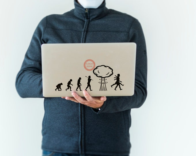 Man Evolution in the Nuclear Age Decal Sticker for Macbooks and Laptops Macbook Decal, Laptop, Radiation, Mutation, Radioactive